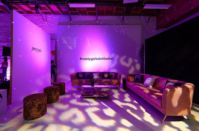 """""""You Nasty Gal, You Nasty!"""" Gifting suite lounge love with @edgedesigndecor for @nastygal! We transformed this cyc into a cozy corner for Polaroid sharing and cocktails for festival season gifting.  #thewotp #nastygalsdoitbetter #nastygal #dtla #losangeles #lighting #edltphoto #coachella #festivalseason #apparel"""