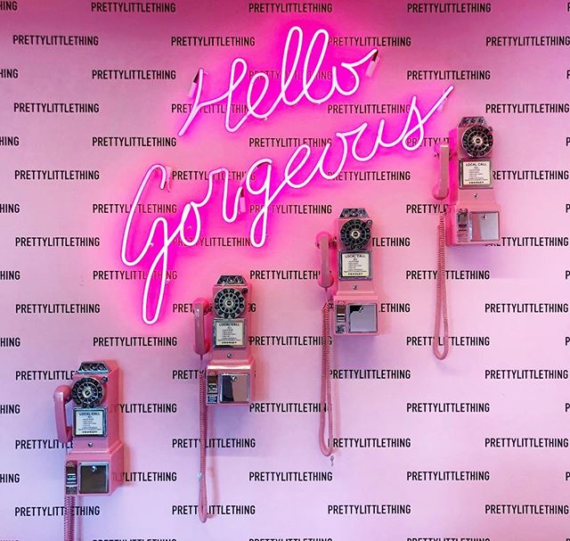 Hello, gorgeous! A little refresh on this photo wall at the @prettylittlething Los Angeles office. There was something so satisfying way back when - when we had telephones. The kind that plugged into the wall! And a cordless, that was a bigggg deal. There were pagers. Pay phones at the corner were everywhere you looked and people talked more and sent texts less. A reminder to pick up the phone and call someone you love today. Hearing a loved one's voice always does the trick for me.  #thewotp #prettylittlething #pink #melrose #losangeles #hellogorgeous #telephone #photoopp #photowall #umarkamani