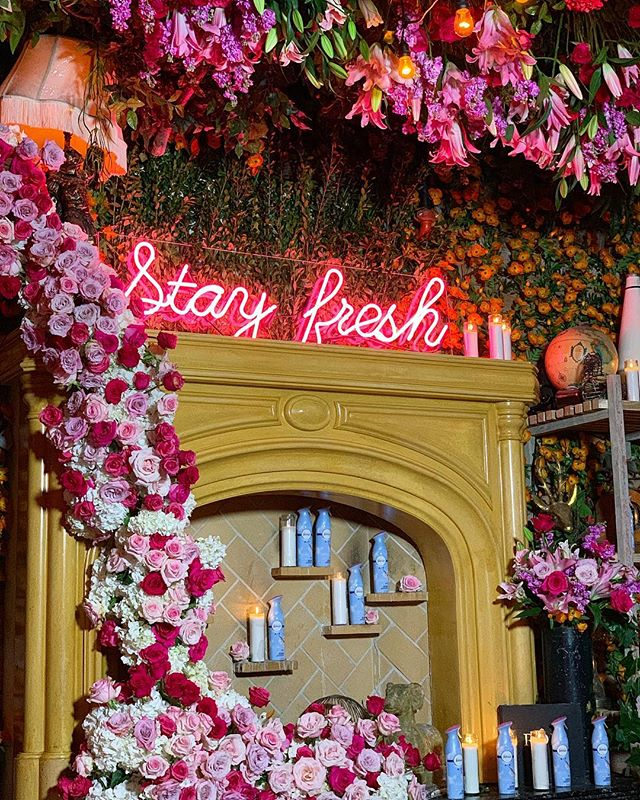 Stay fresh with @febreze. @poppy never smelled so good! Each room was so fragrant from start to finish including the atrium with the fireplace adorned in roses, candlelight, a custom neon, pink lighting and that little blue can!  #thewotp #staysteezy #poppy #stayfresh #roses #pink #pinkflowers #floralinstallation #hollywood #losangeles