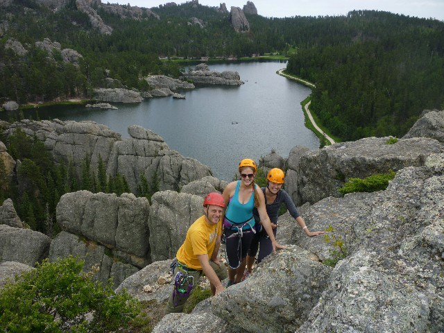 "At the top of one of the ""needles""--the rock structures in Custer State Park."