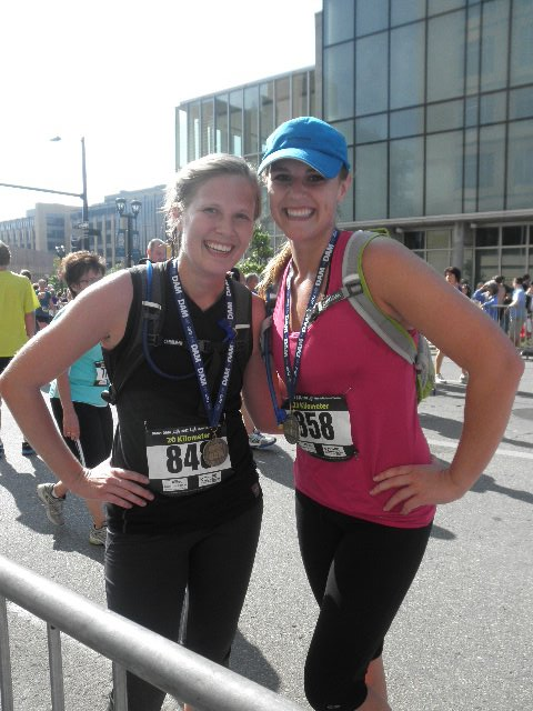 My sister and me at the finish line of my second half marathon ever…notice I have my Camelback this time! :)