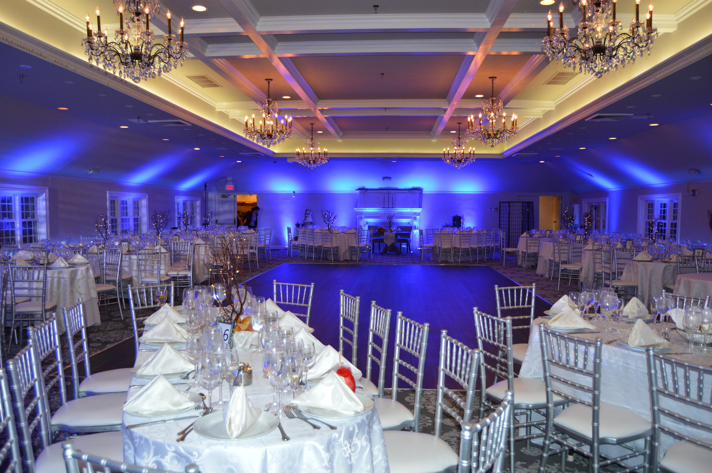 LIGHTSCAPING  We can transform any room. Our LED Up-lighting is an great option to add to any banquet or ballroom room. We accent your room with your choice of 7 LED colors.