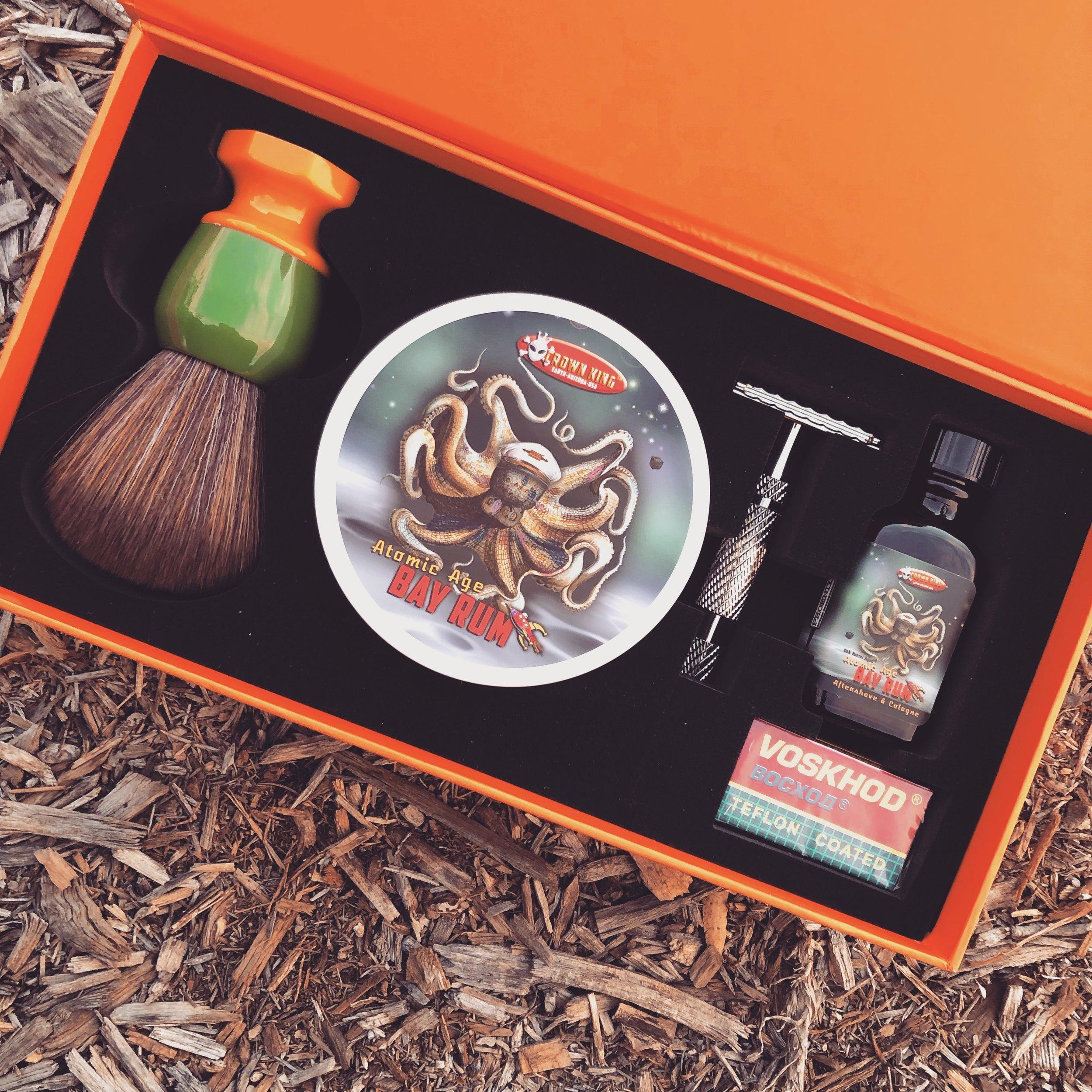 Phoenix Shaving Safety Razor Brush Soap Aftershave Cologne Starter Set