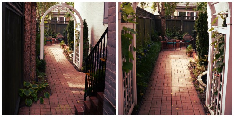 Left: Walkway to Trellis Arch Right: Trellis Arch Entry