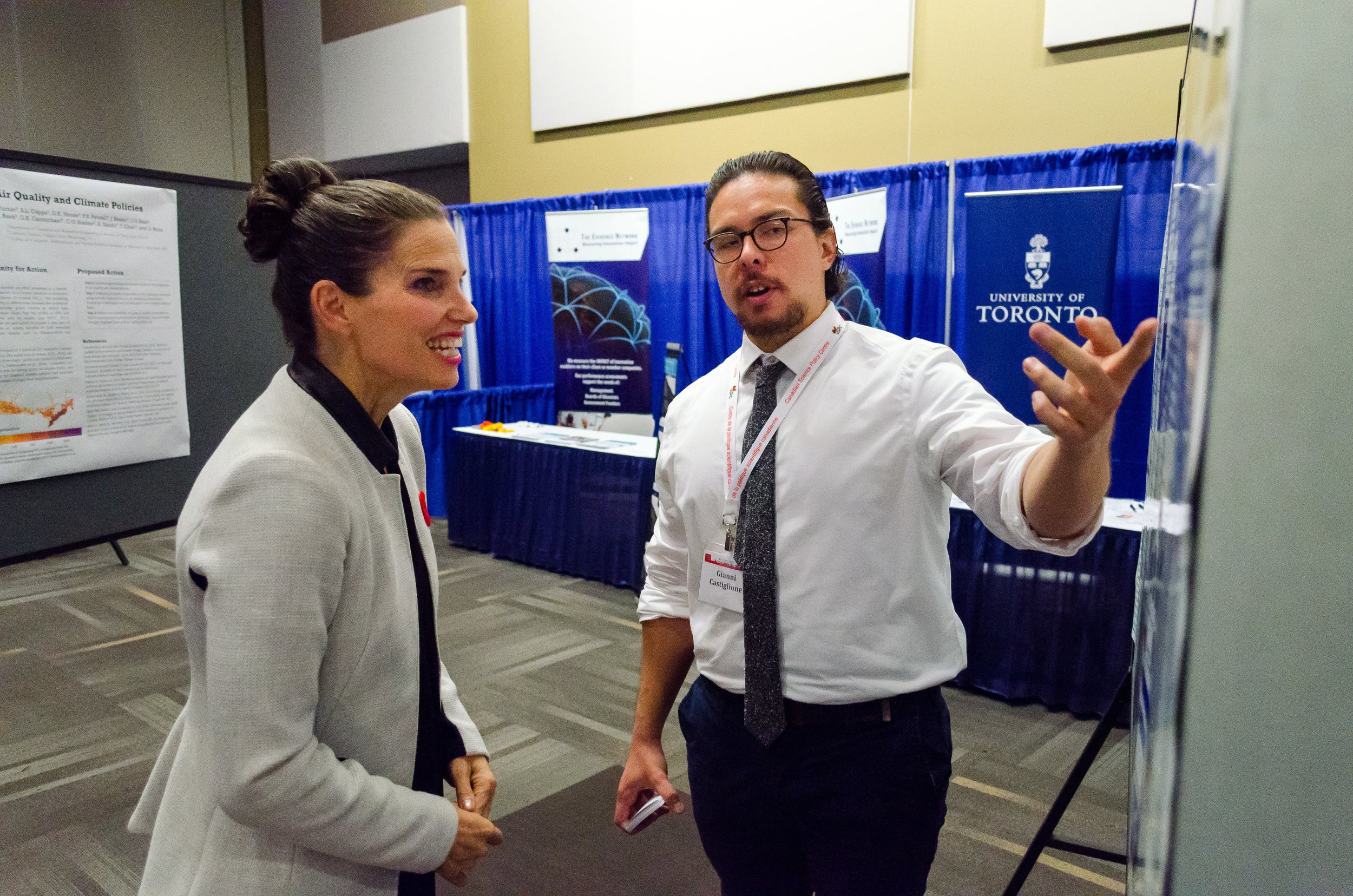 The Honourable Kirsty Duncan, Canadian Minister of Science, and eParliament Director, Dr. Gianni M. Castiglione, discuss eParliament at the  9th Canadian Science Policy Conference  in Ottawa, Nov 2 2017.