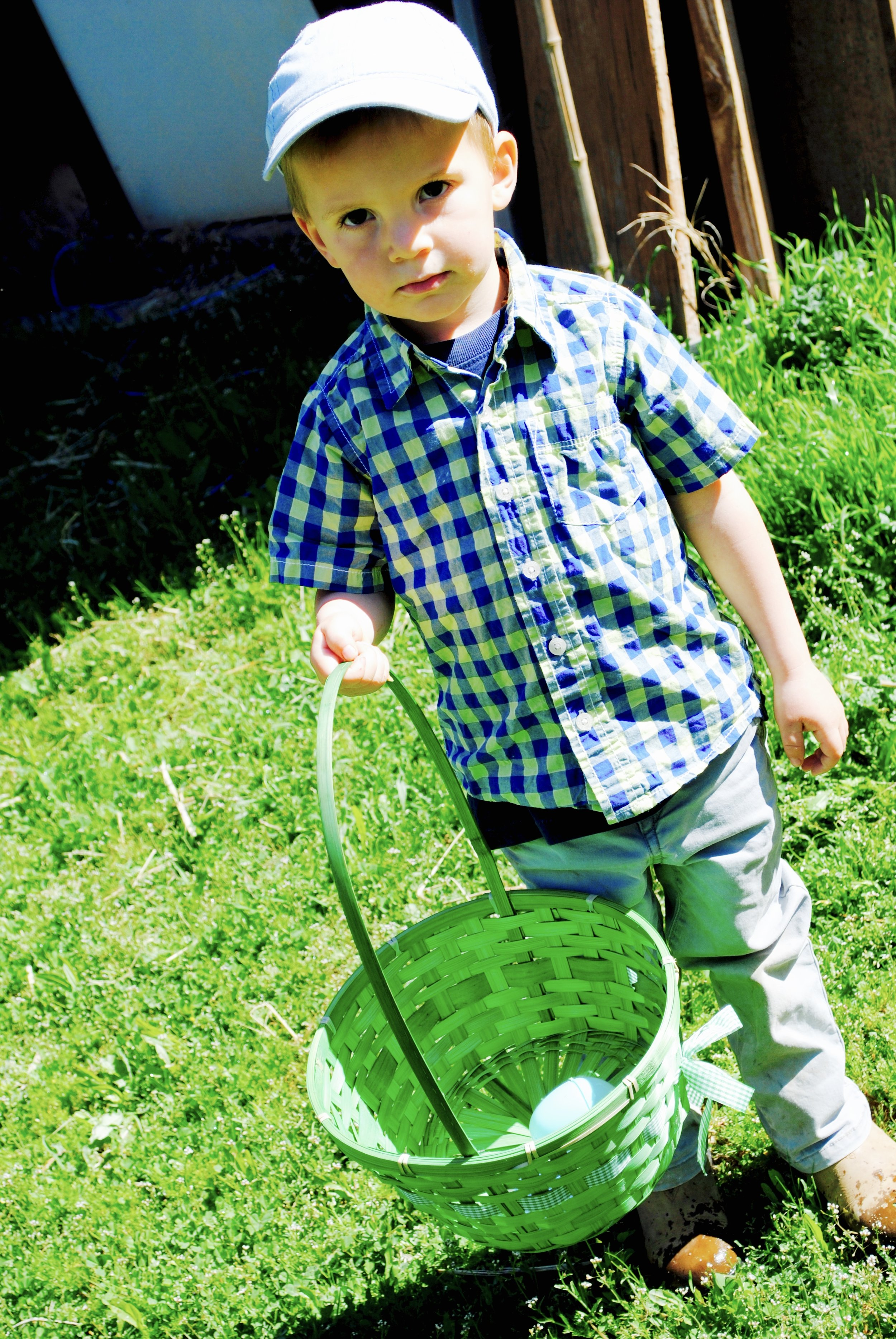 Nils pictured with his very first egg., apparently a serious matter.
