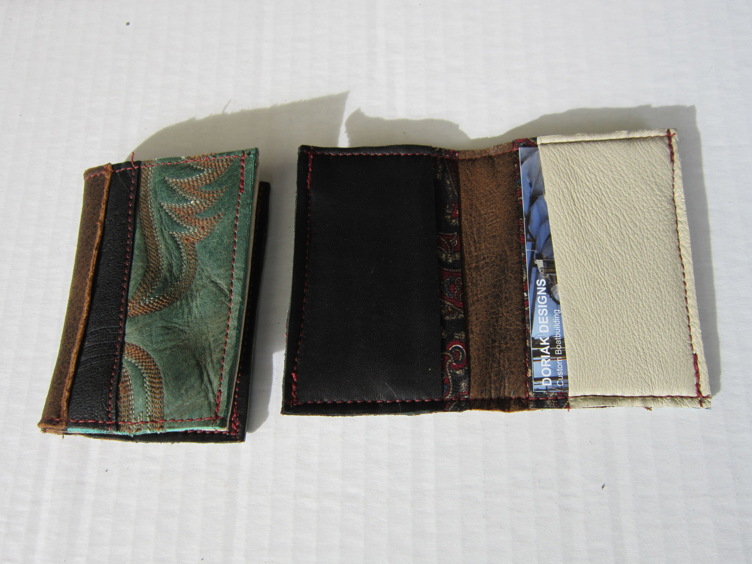 Hand-made wallets from reclaimed cowboy boots, leather jackets, and silk ties