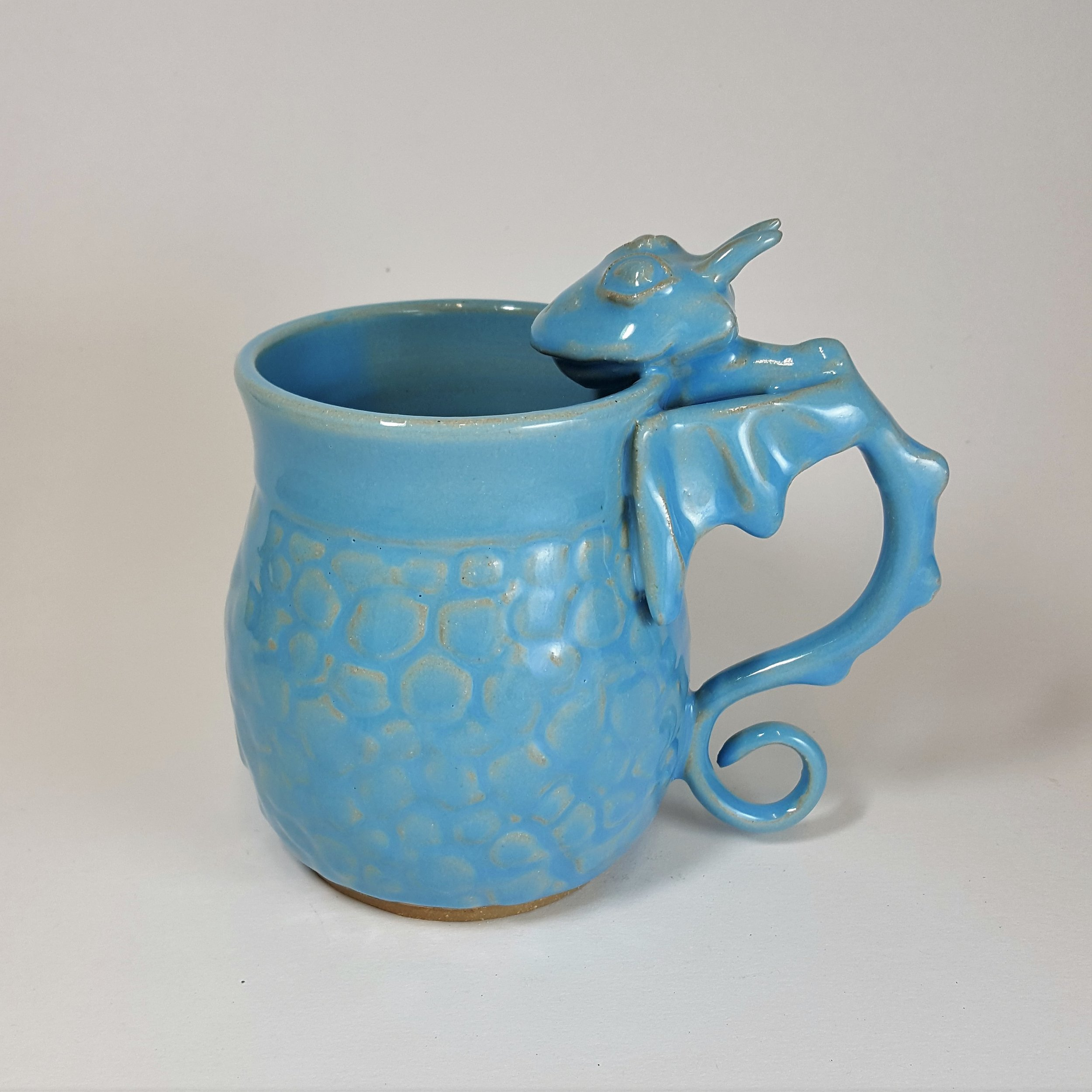 SPECIAL EDITION 21 oz. Light Blue Dragon Mug with Scale Detail - $80