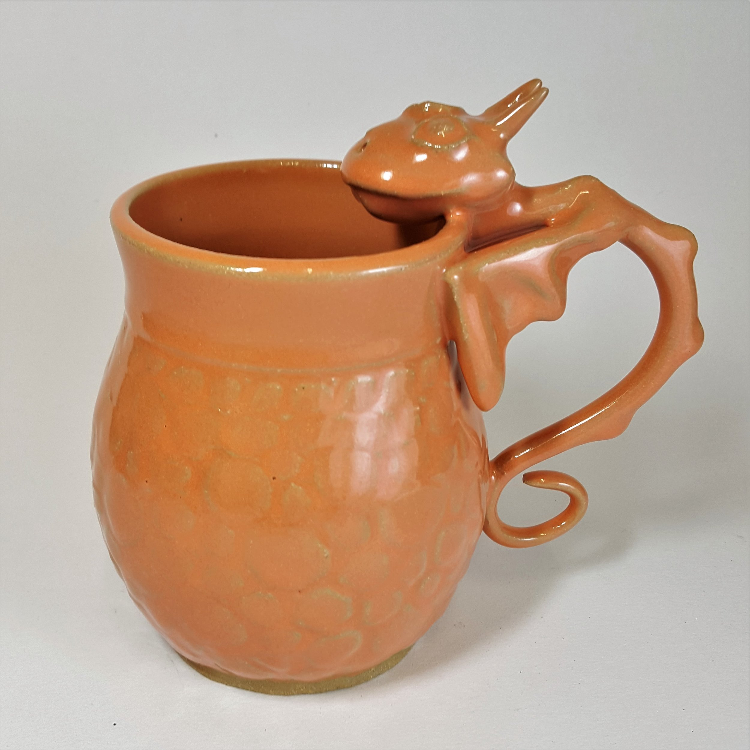 SPECIAL EDITION 22 oz. Orange Dragon Mug with Scale Detail - $80