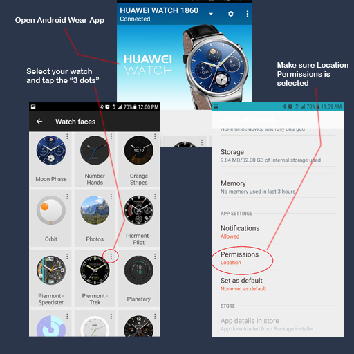 To make sure Slow Glow & Dim after sunset modes work, you must make sure watches are LOCATION enabled. To do this, open the Android Wear App on your phone. Make sure the watch you want to enable is NOT selected (if it is, temporarily switch to another watch). When you're ready, find the watch you want to enable for location and tap the 3 dot symbol on the upper right. This will then open a prompt for App info. Scroll down to permissions and tap. When you see the location field, allow watch to use Location permissions. You should then be set to have watch automatically detect sunrise/sunset times and enable your choice of ambient modes.