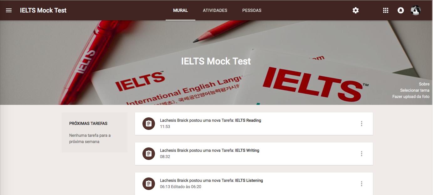 IELTS Google classroom mock test
