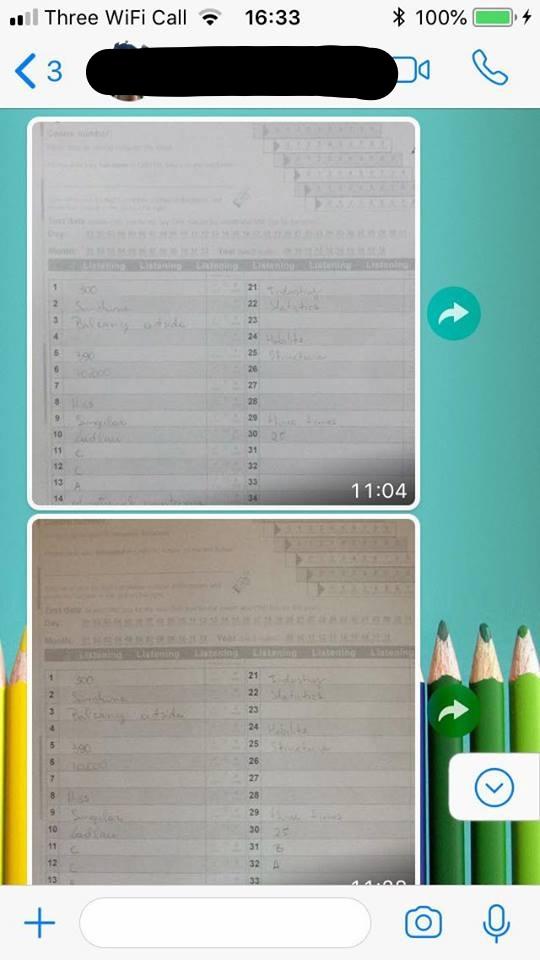 WhatsApp IELTS TOEFL tests