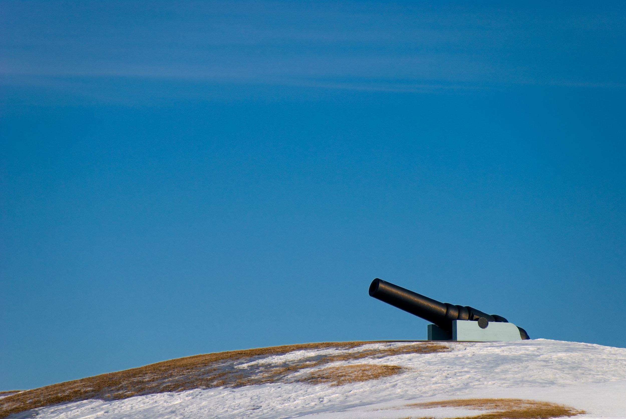 During one of the coldest winter's in recent memory, I took a trip to one of Canada's colder cities, Quebec City. It's a view of one of the cannons of the Citadelle of Quebec from the Plains of Abraham.