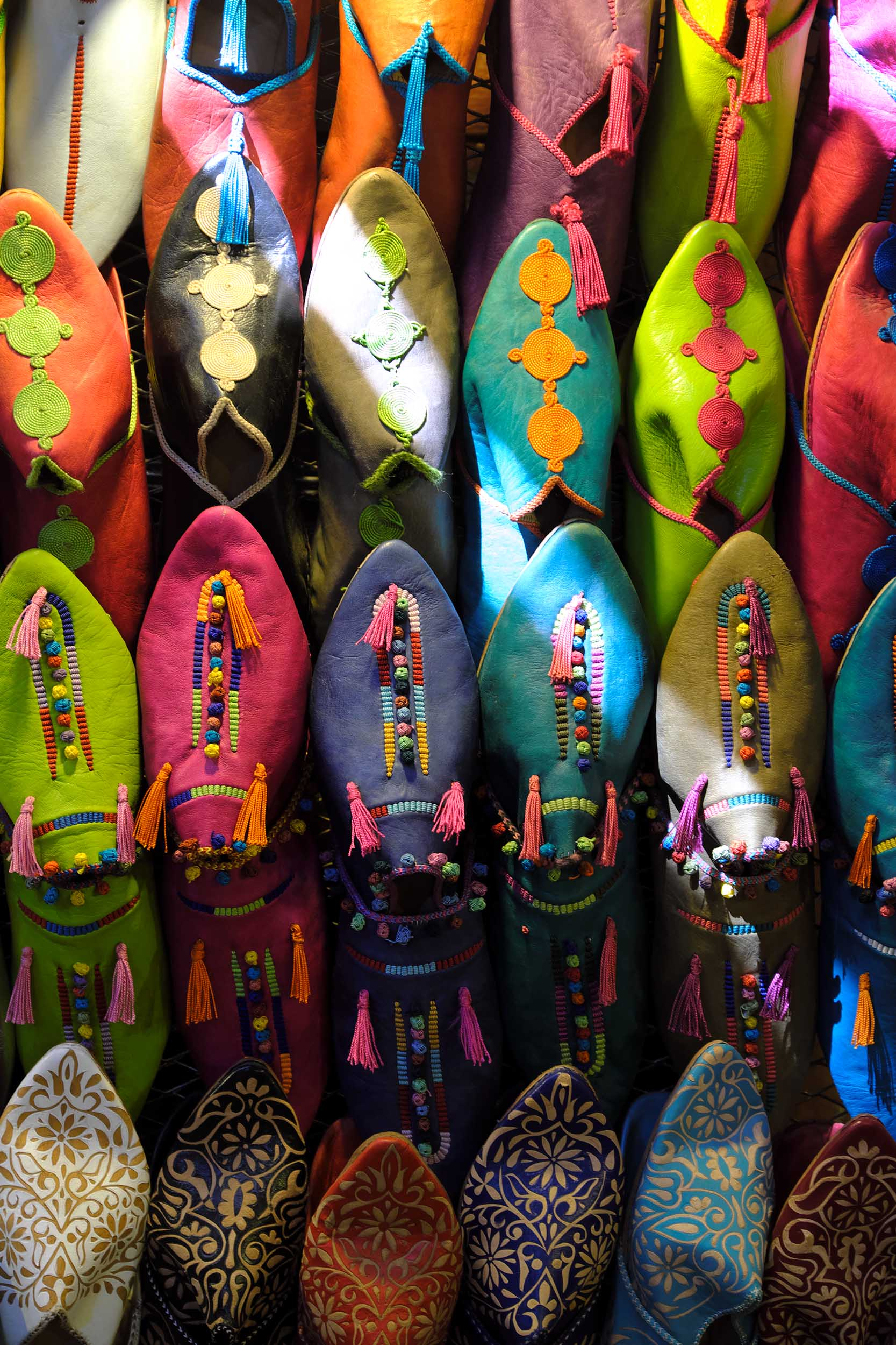 Berber shoes on display in Souq Smata in the medina of Marrakesh.