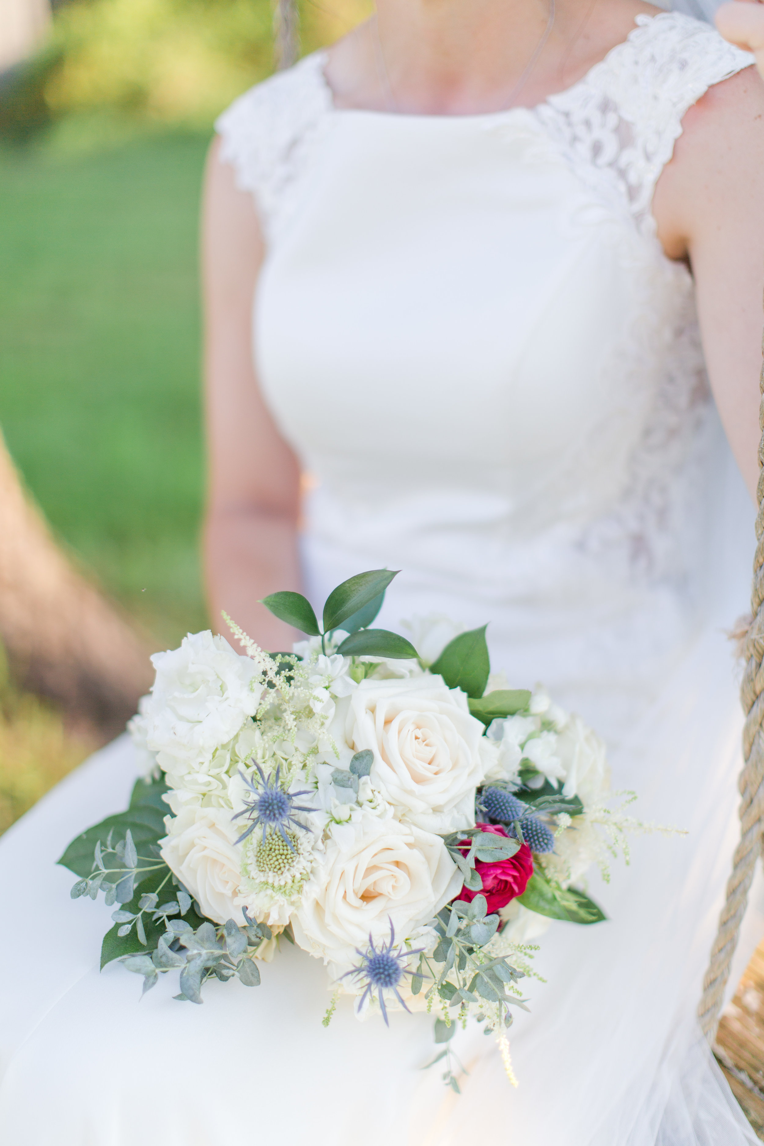This bride requested just a touch of color for her bouquet. Venue  48 Fields  in Leesburg, VA, Emily Alyssa Photography