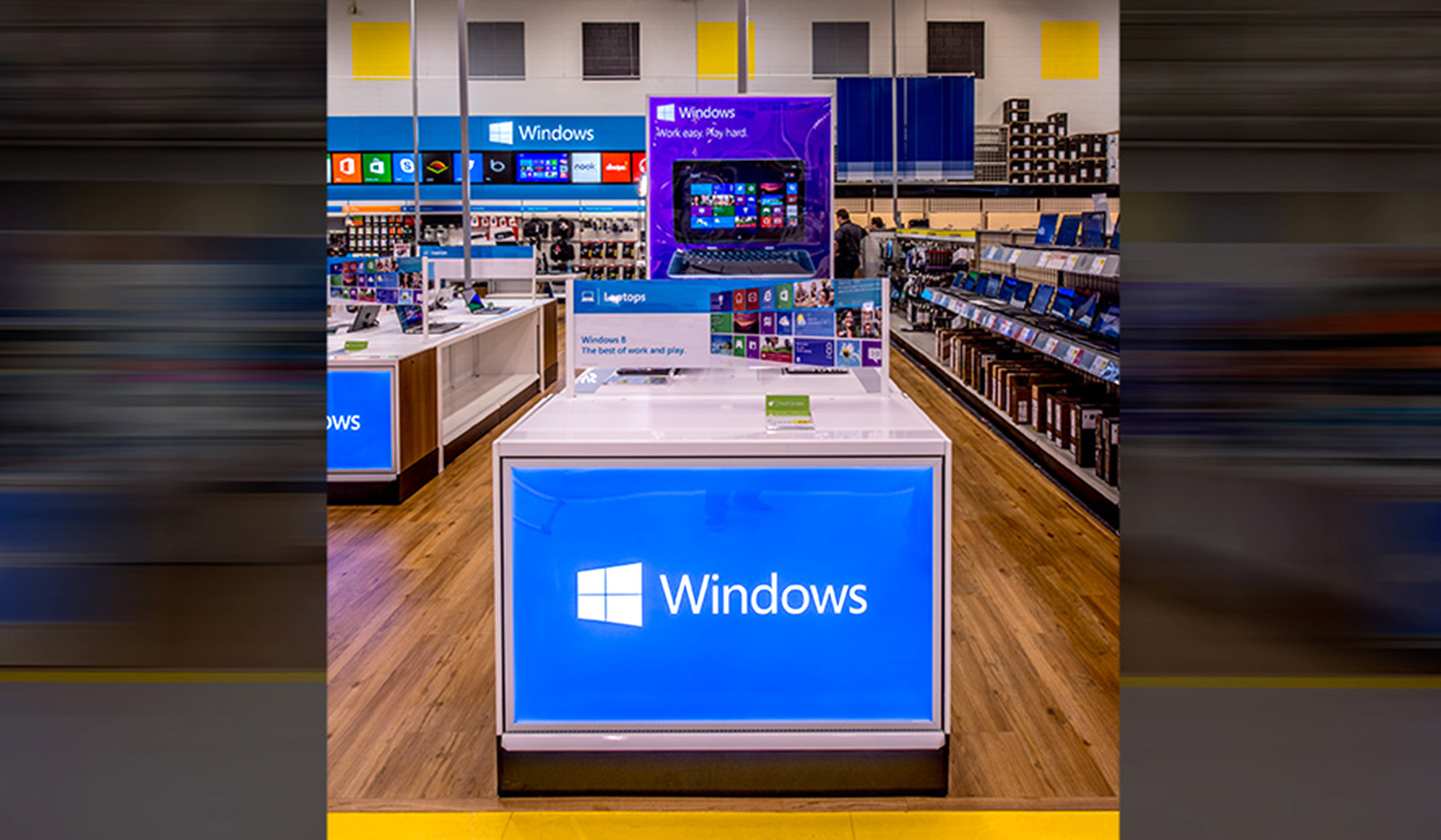 Windows Store at Best Buy - ImagiCorps designed, engineered, fabricated, printed, fulfilled and transported each full kit direct to store.