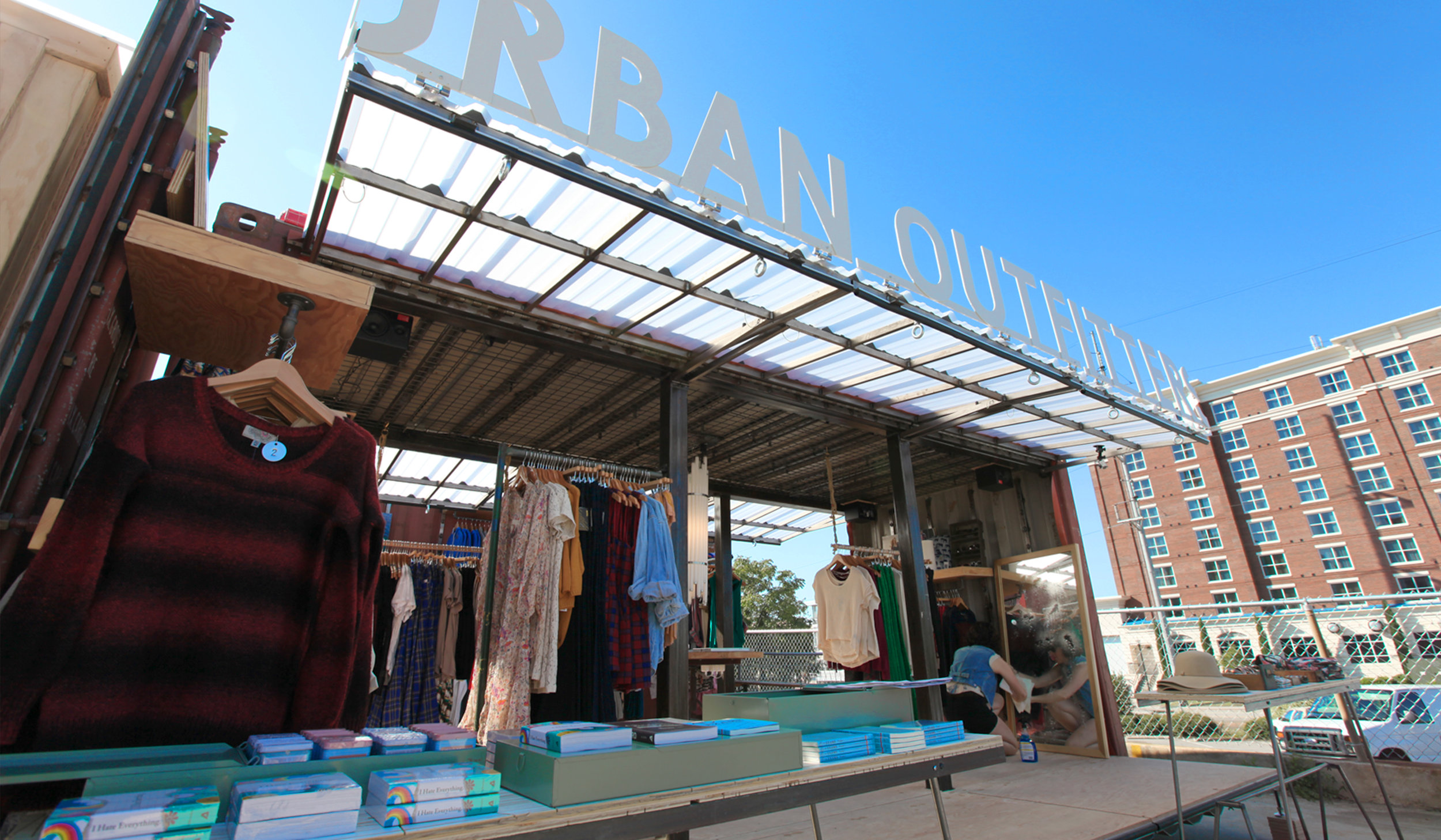 ImagiCorps worked directly with Urban Outfitters Store planners to design a mobile, but functional retail space that took best advantage of the limited space of used 20' shipping containers.