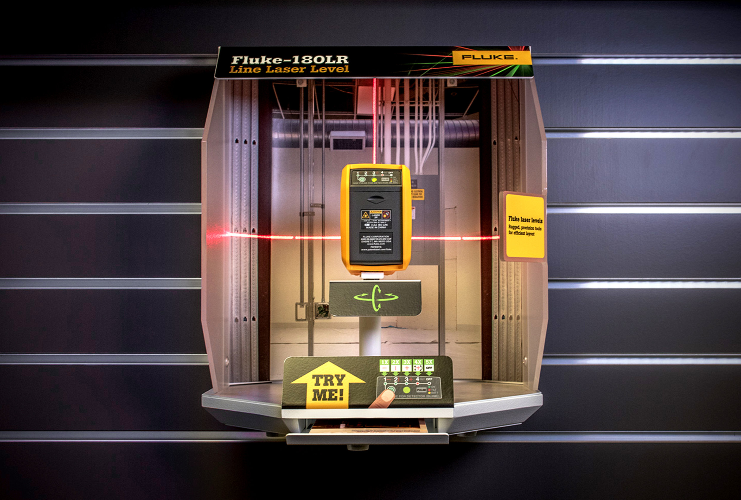Fluke Corporation asked to ImagiCorps design and fabricate a pop  (Point of Purchase) display for laser level products.
