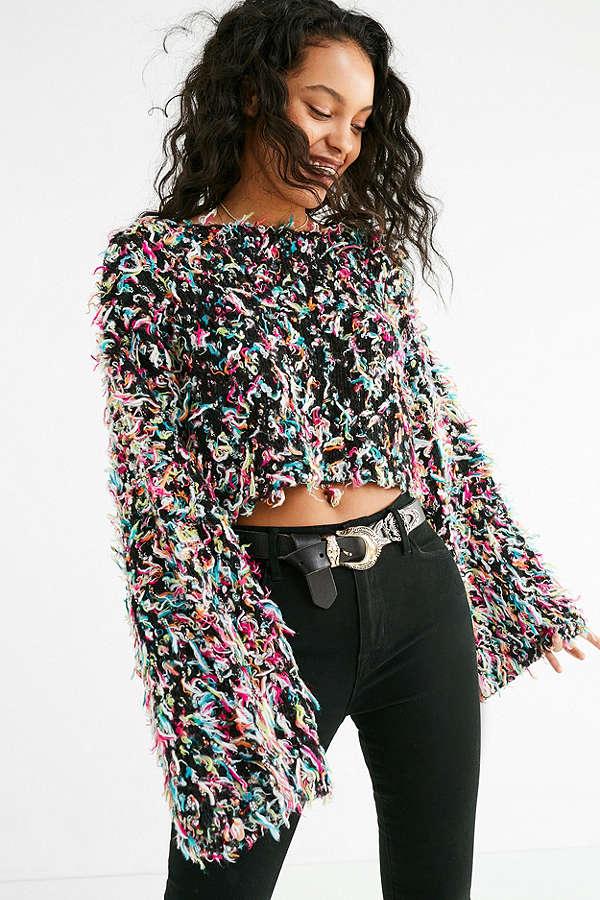 UO Tai Cropped Fringe Sweater