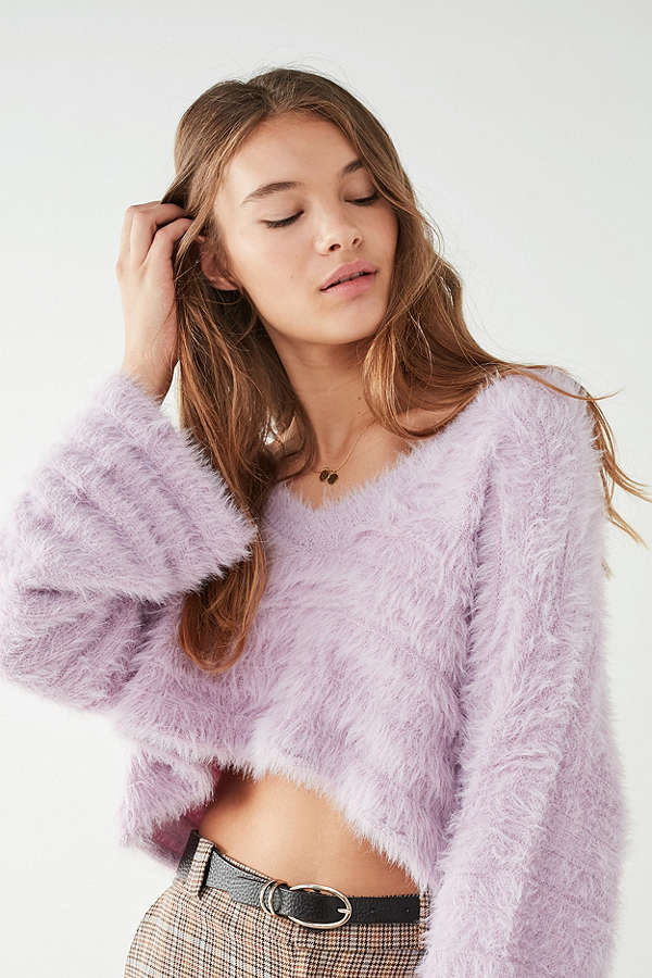 UO Leela Fuzzy V-Neck Pullover Sweater
