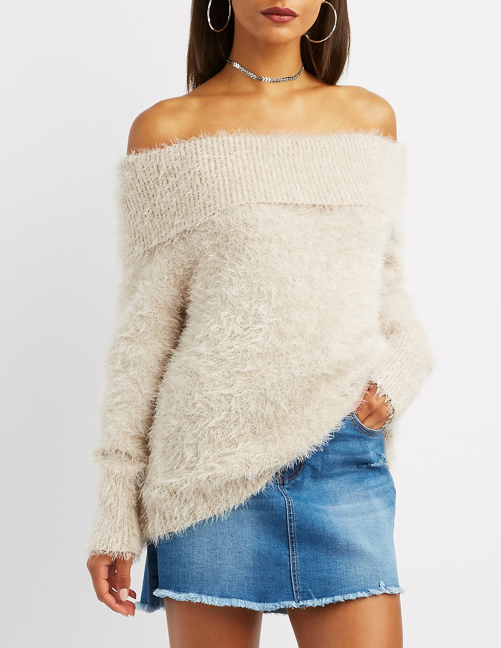 Fuzzy Plush Off-The-Shoulder Top Standard Price