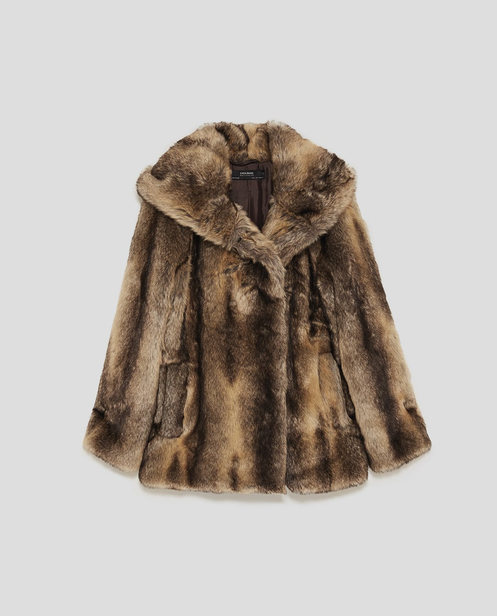 FAUX FUR TEXTURED COAT WITH HOOD