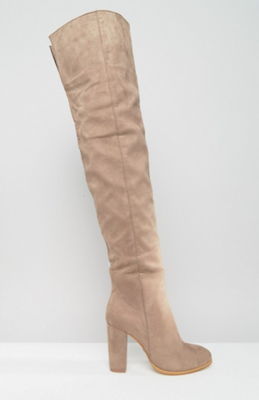 Daisy Street Taupe Heeled Over The Knee Boots
