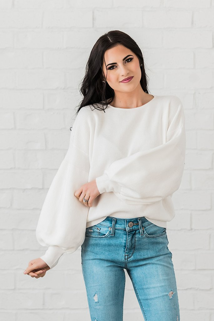 Ivory Bubble Sleeve Sweater