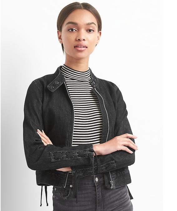 Lace-Up Denim Moto Jacket