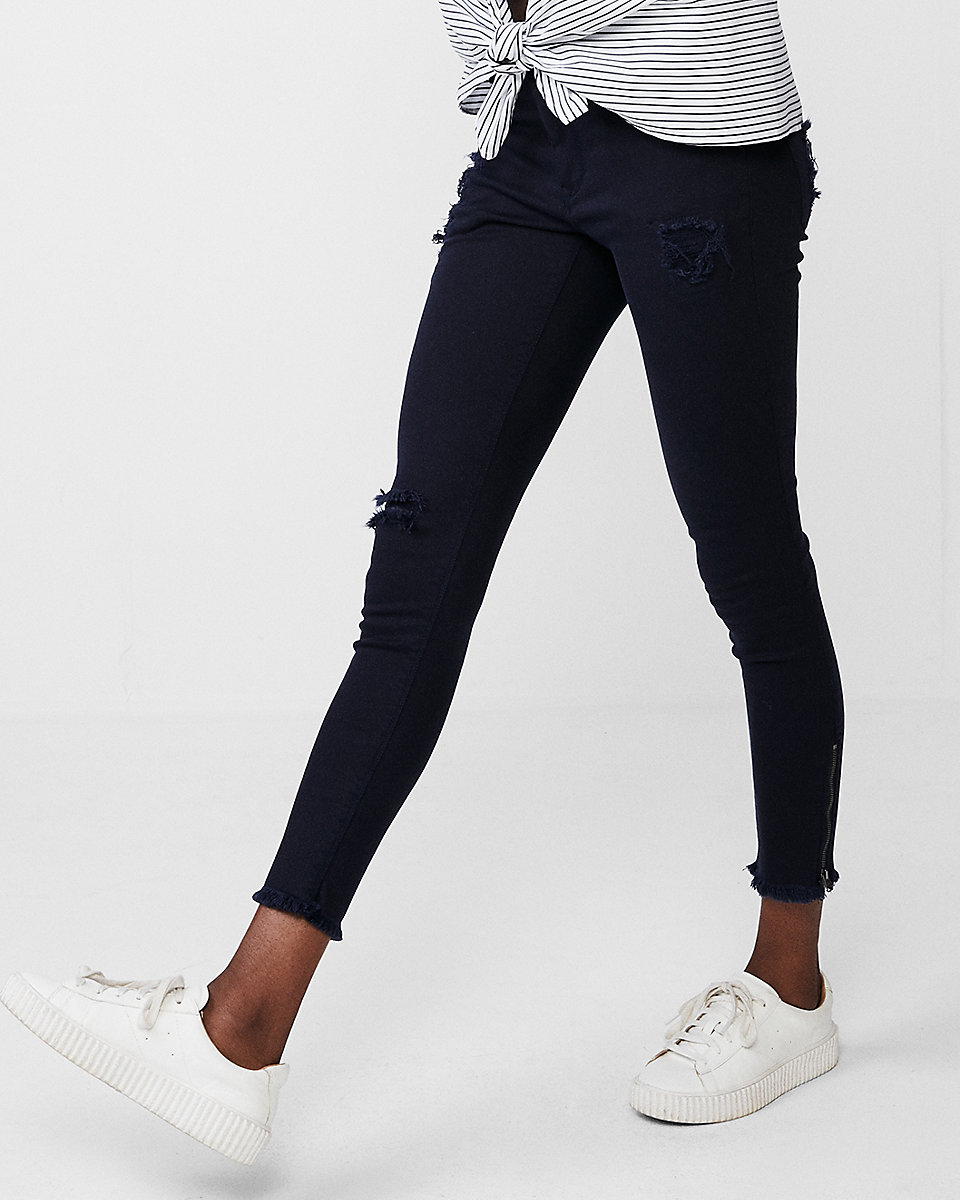 Mid Rise Frayed Waistband Stretch Ankle Leggings