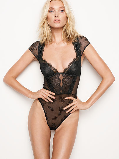 VERY SEXY Chantilly Lace Cap-sleeve Bodysuit