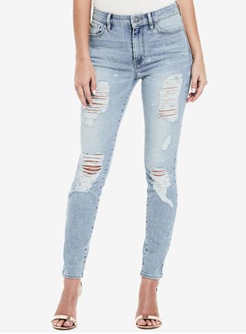 GUESS 1981 Metallic-Splatter Ripped Skinny Jeans