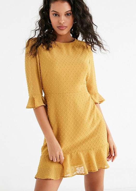 UO Swiss Dot Ruffle Hem Mini Dress