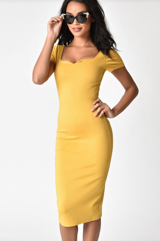 Unique Vintage Mustard Yellow Short Sleeve Harris Knit Wiggle Dress