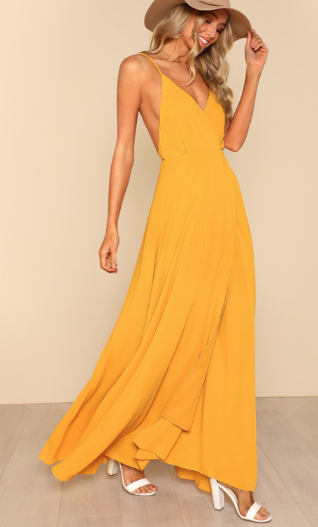 Stappy Wrap Maxi Dress MUSTARD