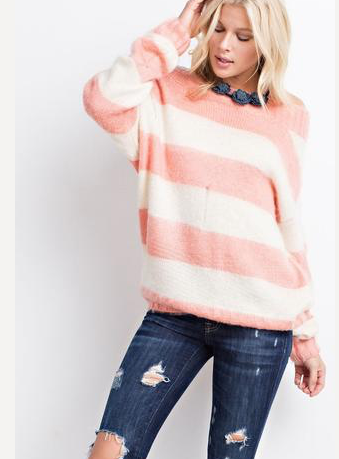 DISTRESSED FUZZY KNIT SWEATER - CORAL AND OATMEAL