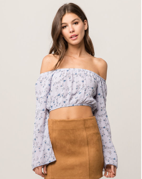 IVY & MAIN Floral Bell Sleeve Womens Off The Shoulder Top