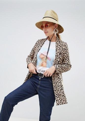 Stradivarius longline blazer leopard print