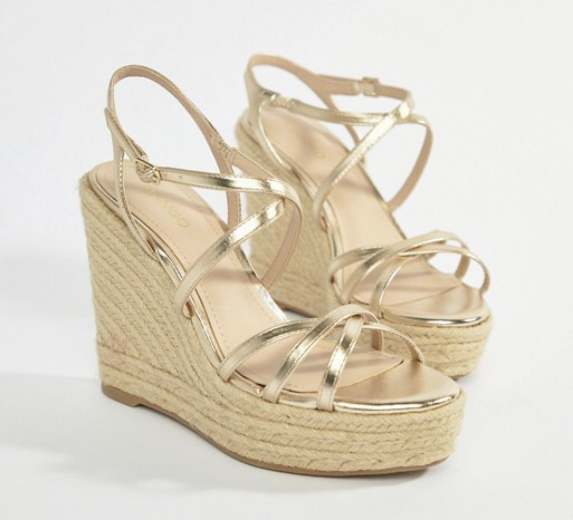 Mango strappy espadrille wedge in gold