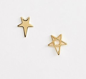 ASOS DESIGN sterling silver with gold plate studs in mismatch star