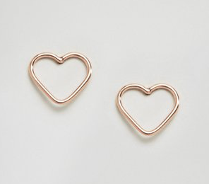 Kingsley Ryan Rose Gold Cut Out Heart Ear Stud Earrings