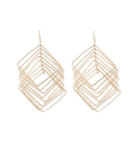 Tiered Square Drop Earrings