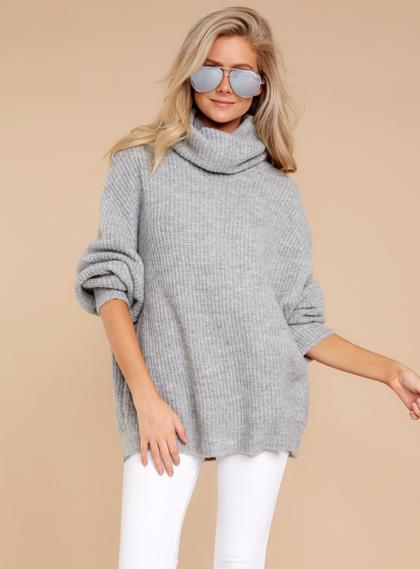 Sunday Comfort Grey Turtleneck Sweater