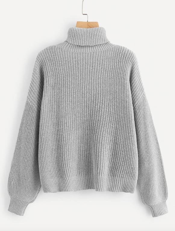SHEIN Turtle Neck Drop Shoulder Sweater