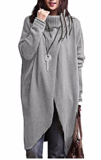 Grey Turtleneck Long Sleeve Asymmetric Sweater
