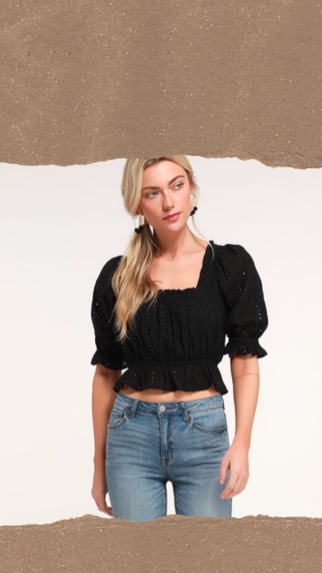 Black Eyelet Lace Crop Puff Sleeve Top- From Lulus