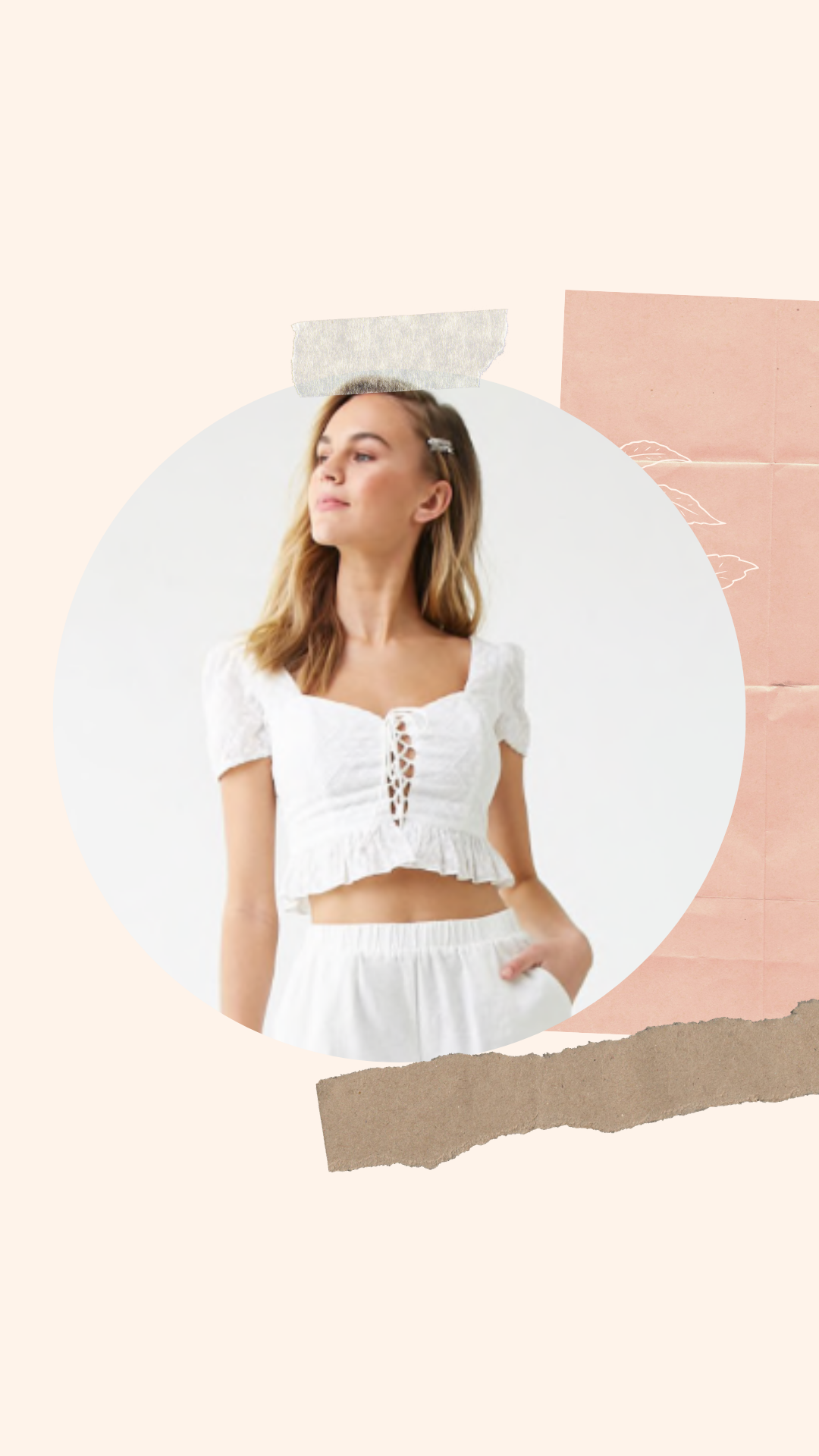 Floral Embroidered Lace-up Crop Top