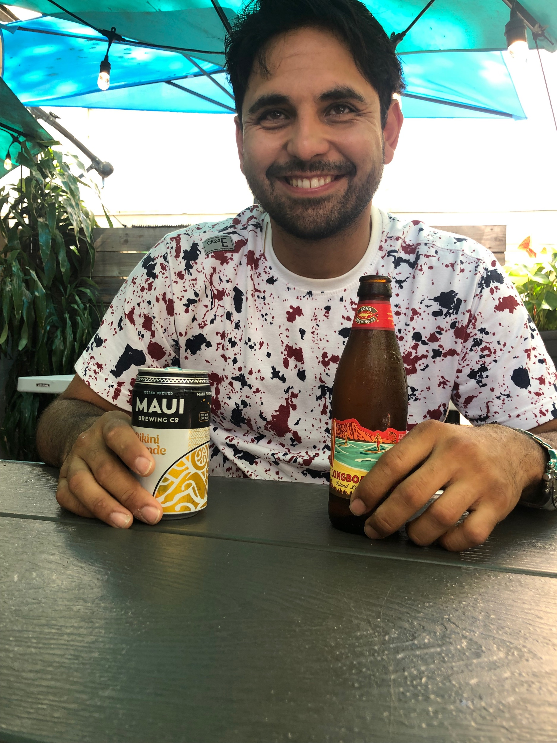 His smile when he gets beer…