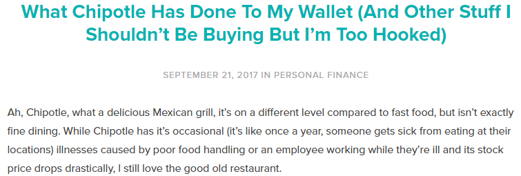 The column I wrote on my personal finances