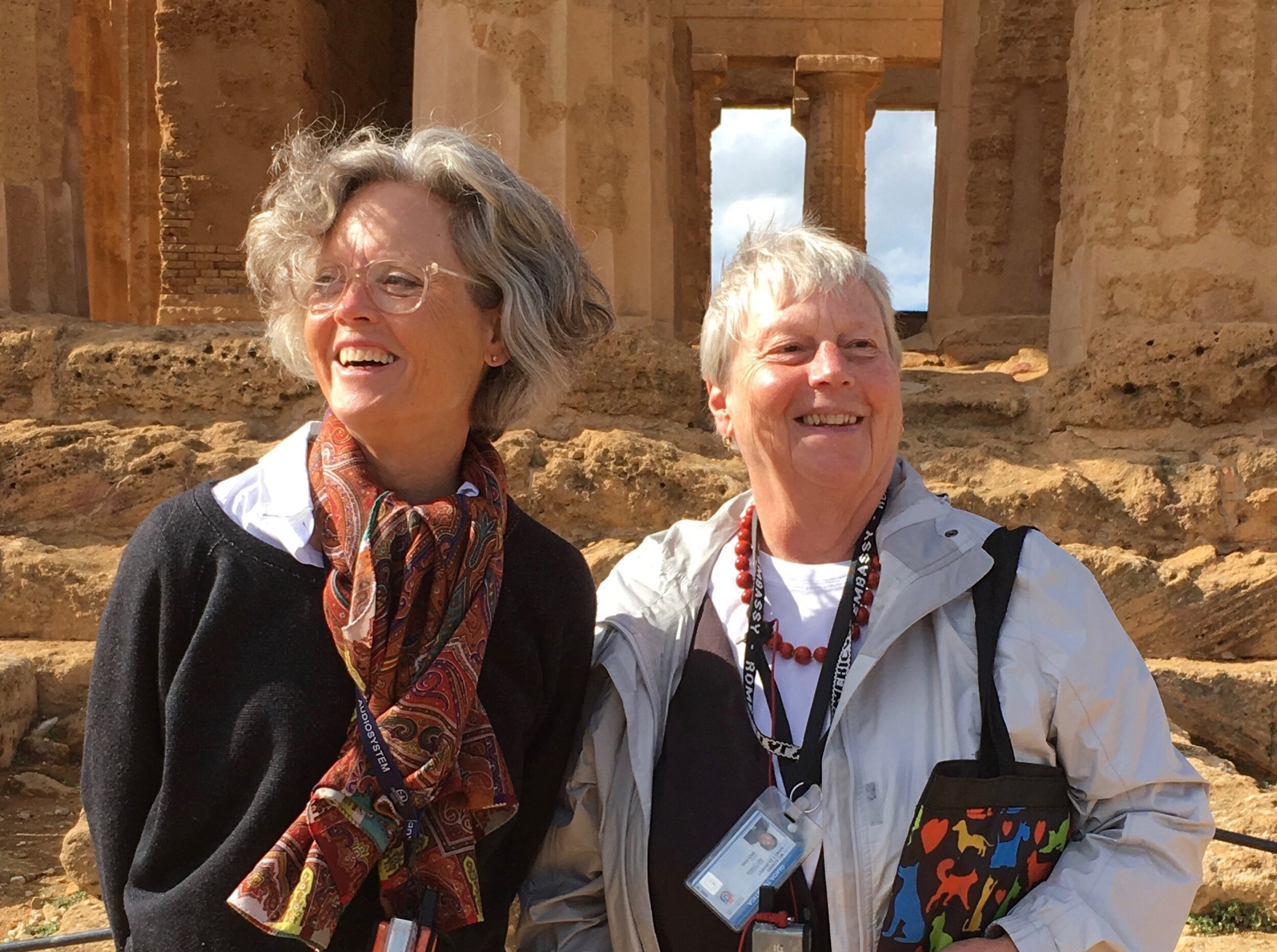 Libby and Nancy, savoring the ruins on a sunny morning in Sicily.